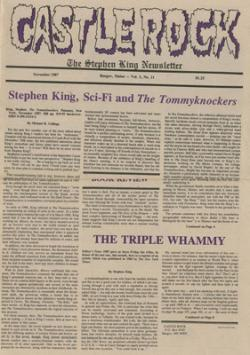 Stephen King Newsletter Volume 3 11/1987, Stephen King, Magazine, USA, 1987
